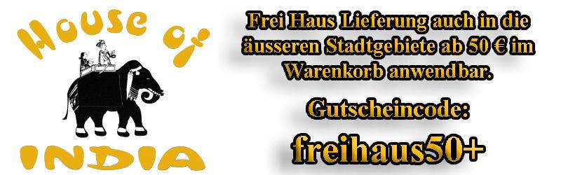 Gutscheincode für die Freischaltung der Frei Haus Lieferoption ab einem Warenkorbwert von 50€ anwendbar.
